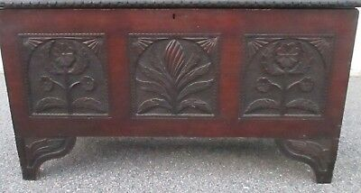 Carved Pine Antique Blanket Chest