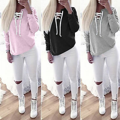 Women Lace Up Sweatshirt Hoodie Long Sleeve Casual Gym Top Shirt Pullover Blouse