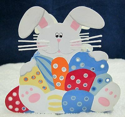 Sweet Easter Bunny & Eggs Votive Candle Holder Very Colorful & Cute