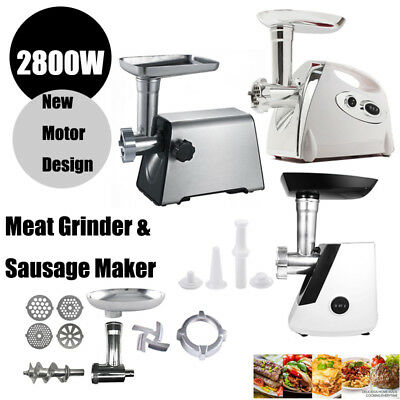 2800W Electric Meat Grinder Stainless Steel Sausage Kibbe Kit w/ Blade + Plate