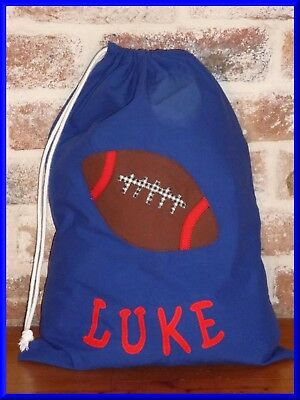 Boys Personalised Name Library Bag /toy Bag - Footy  - With Name Luke As Shown