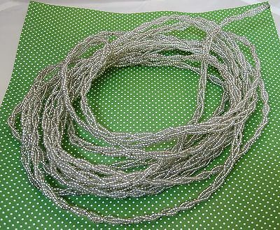 Older Glass Beaded Braided Wire Rope Garland 20 Ft Clear Silver Beads Christmas