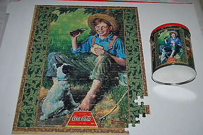 "Coca Cola tin - 16""x20"" Puzzle Norman Rockwell Boy Fishing -missing 4-5 pcs"