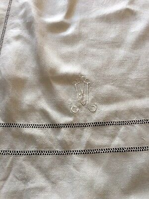 Antique Banquet Ladderwork Linen Vintage Trousseau Monogram M Huge Tablecloth