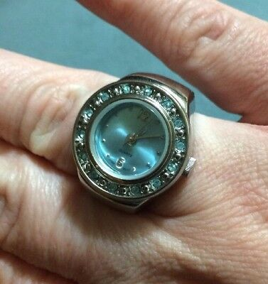 Avon Quartz Ring Watch / Blue Face / Blue Crystal Outer Ring