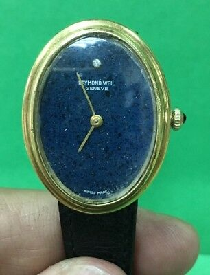 Authentic Vintage RAYMOND WEIL 1601 Hand Wind Gold Plated Blue DIAL Watch