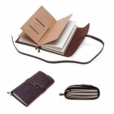 Binding Notebook Retro Leather Cover Journal Diary Memo Lined Page Paper Brown