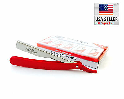 STRAIGHT BARBER RAZOR RASOIR, 100 DORCO BLADES Red CUT THROAT SHAVETTE #ST-301