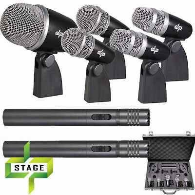 DP Stage DMS-7D 7 Piece Drum Microphone Pack inc Drum Clips and Aluminium Hardca