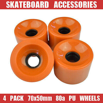 4xPack Longboard Skateboard High Elastic Durable Large PU Wheels 70x50mm 80a