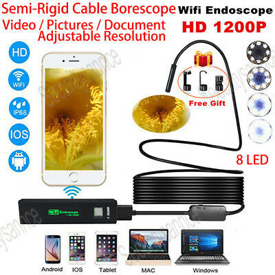 NEW 8LED Wireless Endoscope WiFi Borescope Inspection HD 1200P Camera Waterproof