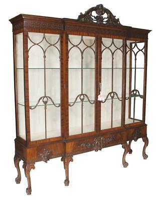 Chippendale style mahogany breakfront bookcase with mullion glass doo... Lot 100