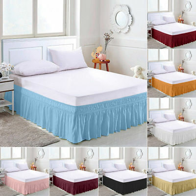 Elastic Bed Skirt Dust Ruffle Easy Fit Wrap Around Full King Twin Solid Color
