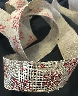 3 yards (2.7 metres) hessian Christmas ribbon 5cm width natural with red glitter