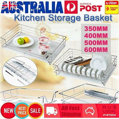 Pull Out Pantry Stainless Drawer Cabinet Slide Basket Storage Kitchen 350-600MM