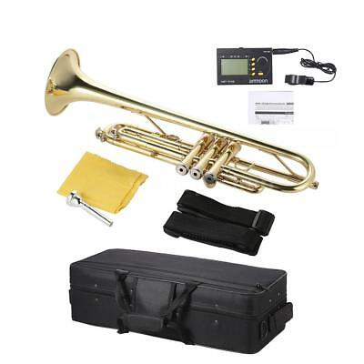 NEW Trumpet Bb B Flat Gold with Tuner Case Care Kit Hot Gift for Student H2V3