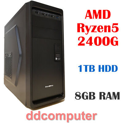 AMD Ryzen5 2400G 4-Core PC 8GB RAM 1TB HDD Radeon Vega Graphics Desktop Computer