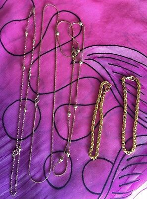 Vintage Antique Gold Lot Of 5 Chain Necklaces Bracelets Deceased Estate Vtg Bulk
