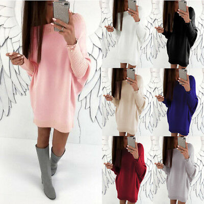 Women's Ladies Oversized Knitted Long Sweater Jumper Winter Dress Top Pullover
