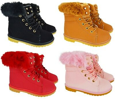 Kids Girls Boys High Top Faux Fur Lined Flat Warm Winter Ankle Trainers Boots Sz
