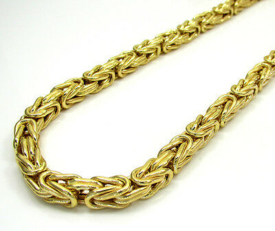"4MM SOLID 10K Yellow Gold Byzantine Heavy Necklace Chain - 18"" - 24"" Inches"