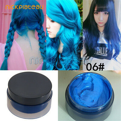 Unisex DIY Hair Color Wax Mud Party Dye Cream Temporary Modeling Mascara Blue