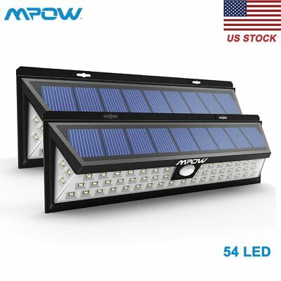 Mpow 54LED Solar Sensor Light Powered Motion Outdoor Garden Security Wall Lamp