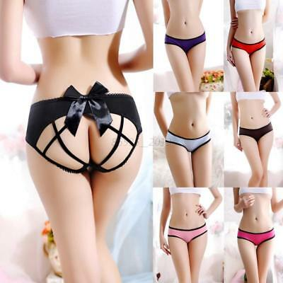 Sexy Lady Crotchless Lace Panties Bowknot Backless Intimates Briefs Knickers UK