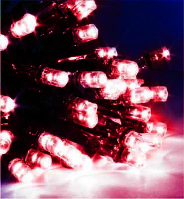 52.9M 500Led Red Chasing Christmas Fairy Lights With 8 Functions & Memory