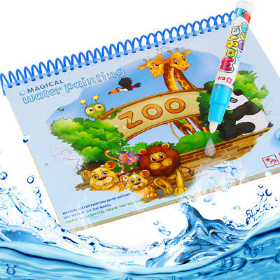 Kids Children Magic Water Drawing Book Pen Coloring Book Animals Painting Art