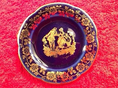 Cobalt & Gold French Limoges Butter Pat, L266  GIFT QUALITY!!