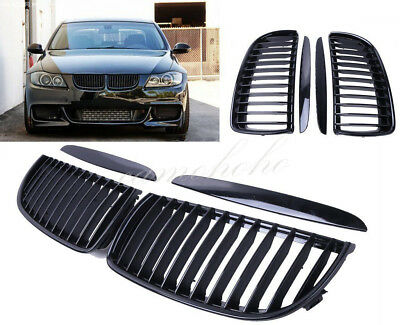 Gloss E90 E91 Black Front Kidney Grill Grilles For BMW Saloon 2005-2008 4D