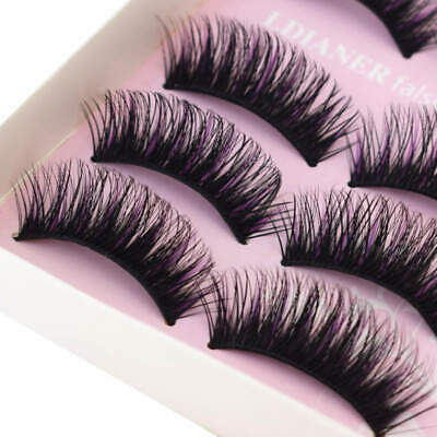 5 Paires noir & violet Faux Cils Extension Naturel Long Épais Maquillage Yeux