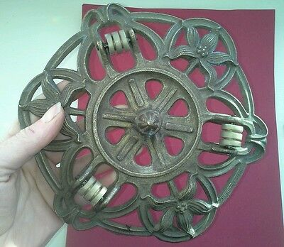 Reclaimed Antique Rise And Fall Hanging Candelabra Chandelier Pulley Part Flower