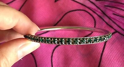 Vintage Antique Silver Green Stone Crystal Bangle Bracelet Deceased Estate Vtg