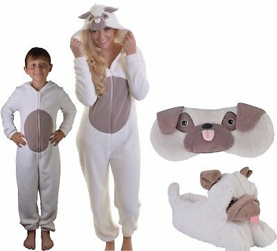 Super Soft Pug Dog All-in-one Body, Slippers or Eyemask