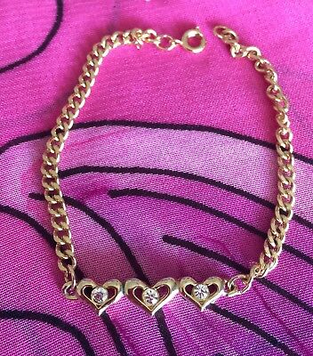 Vintage Antique Gold Clear Crystal Love Heart Bracelet Estate Find Vtg Retro
