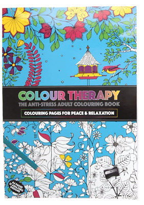 Adult Colouring Colour Therapy Anti-Stress A4 Book Relax Softback 2 for 1 price