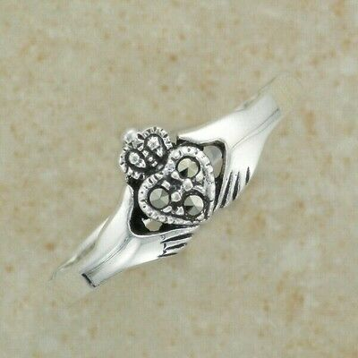 Irish Celtic Sterling Silver claddagh ring with marcasite stones SZ 6