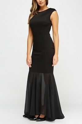 Black Mermaid Maxi Evening Dress Womens Party Cocktail