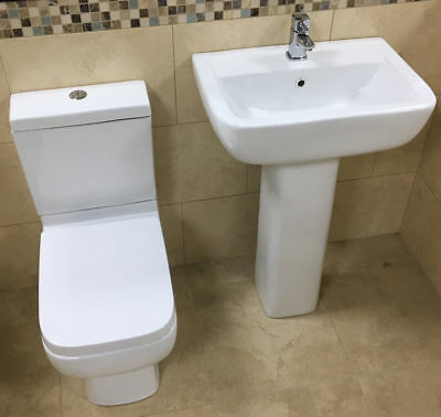 Vogue Options 600 Basin + Toilet Set Sink WC Bathroom Suite + Soft Close Seat