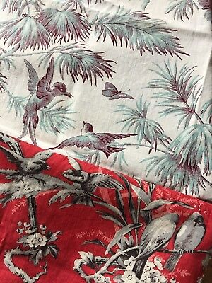 French Antique Bird Fabric Pieces