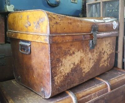 vintage antique tin metal trunk steamer trunk vintage luggage rustic decor
