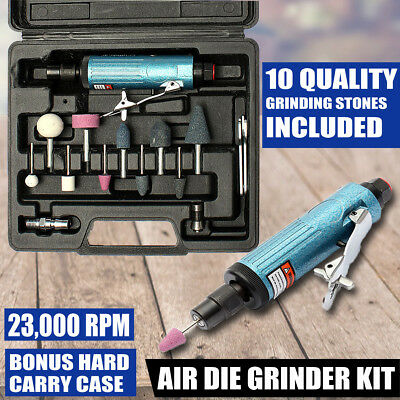 14Pcs Air Compressor 90psi Die Grinder Rotary Polish Craft Stone Case 1/4''1/8''