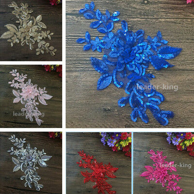 1pc Motif Sequin Flower Applique Trims Wedding Dance Dress Embroidery Crafts DIY