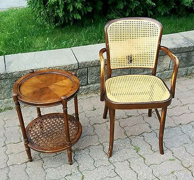 Antique Vintage Old Thonet style Arm Chair and Side Table. Nice!