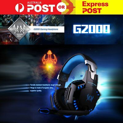 AU G2000 Pro Game Gaming Headset USB 3.5mm LED Stereo PC Headphone Microphone