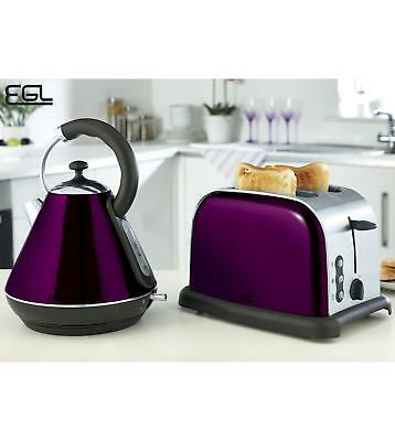 Purple Pyramid Kettle And 2 Slice Toaster Set - High Gloss Kitchen Electrical