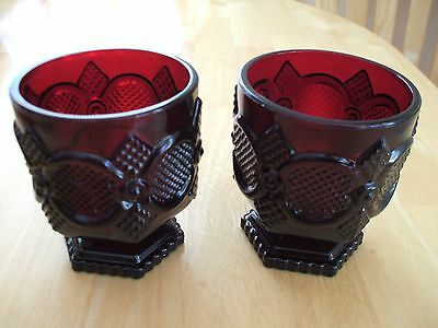 Two Vintage Avon 1876 Cape Cod Ruby Red Glass Short Footed Water Goblets