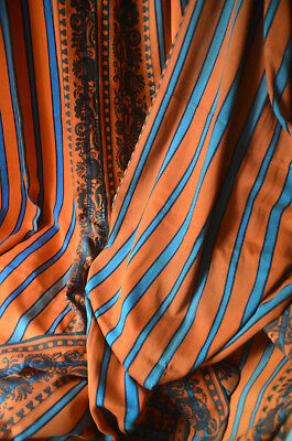 Original antique French Art Nouveau thickly woven striped curtain